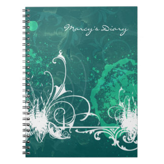 Blue Green Grunge Diary Notebook