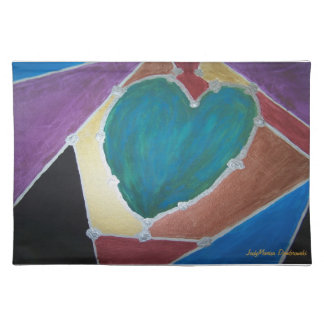 Blue Green Heart With Mosaic Theme Placemat