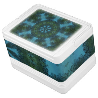 Blue-Green Kaleidoscope Igloo 12 Can Cooler Chilly Bin