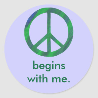 Blue Green Peace Sign Begins With Me Stickers