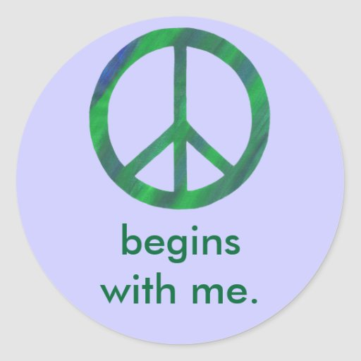 Blue Green Peace Sign, Begins With Me Stickers