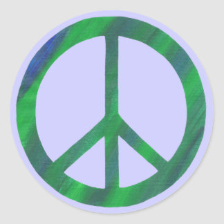 Blue Green Peace sign peace stickers