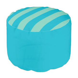 Blue Green Solid & Striped Round Pouf Cushion/Seat