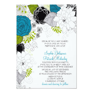 Blue & Green Spring Flowers Wedding Invitations