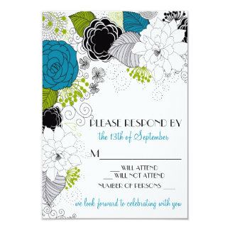 Blue Green Spring Flowers Wedding RSVP Invitation