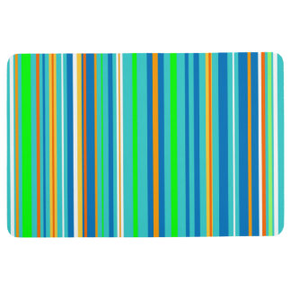 Blue Green Turquoise Orange Stripes Floor Mat