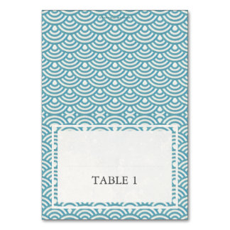 Blue Green Wedding Wave Pattern Place Name Card Table Cards