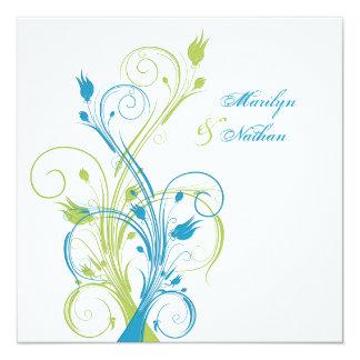 Blue Green White Floral Sq. Wedding Invitation