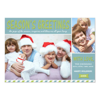 "Blue, Green & White Season's Greeting Holiday Card 5"" X 7"" Invitation Card"