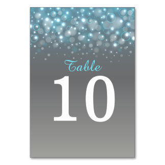 Blue grey champagne bubbles Wedding table numbers Table Cards