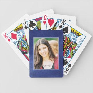 Blue Grunge Photo Frame Playing Cards