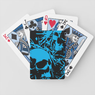 Blue Grunge Skulls Bicycle Playing Cards
