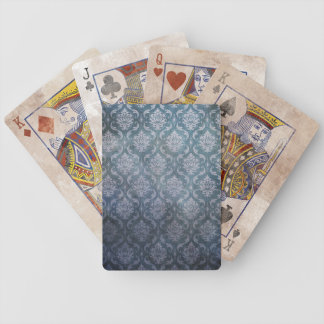 Blue Grungy Damask Bicycle Playing Cards