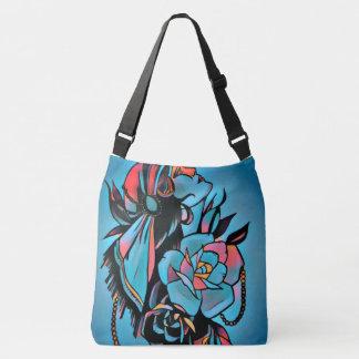 blue gypsy girl shoulder tote bag