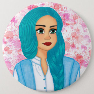Blue hair girl 6 cm round badge