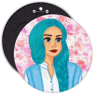 Blue hair girl 6 cm round badge