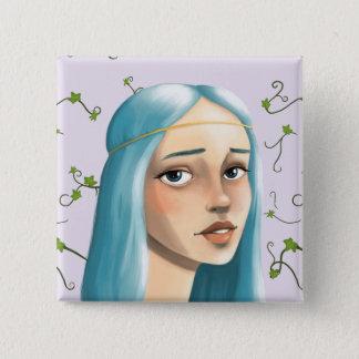 Blue Hair Maiden 15 Cm Square Badge