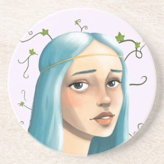 Blue Hair Maiden on Ivy Beverage Coasters