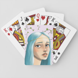 Blue Hair Maiden on Ivy Playing Cards