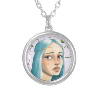 Blue Hair Maiden on Ivy Silver Plated Necklace