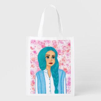 Blue hair reusable grocery bag