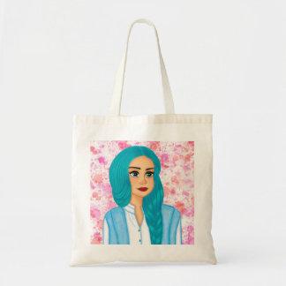 Blue hair tote bag