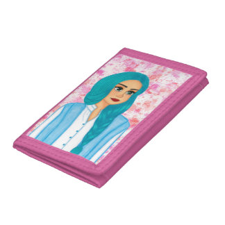 Blue hair tri-fold wallets