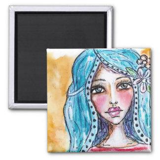 Blue Hair Watercolor Art Boho Girl Flower Colorful Magnet