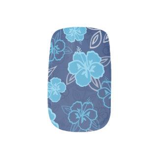 Blue Hawaiian Hibiscus Pattern Minx Nail Art