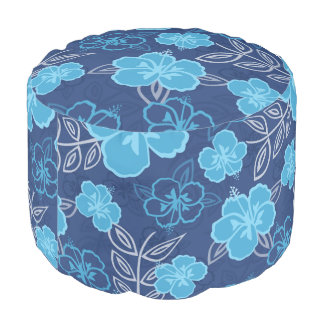 Blue Hawaiian Hibiscus Pattern Pouf