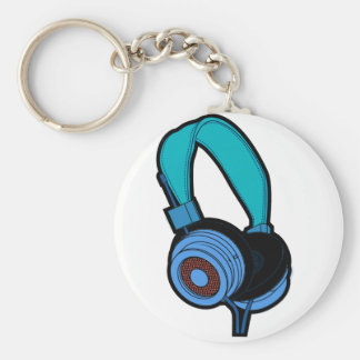 Blue Headphone Basic Round Button Key Ring