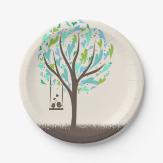 Blue Heart Tree Paper Plates 7 Inch Paper Plate
