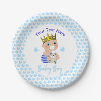Blue Hearts Cute Prince Baby Boy Shower Party Paper Plate
