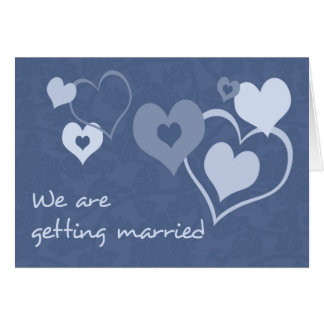 Blue Hearts Engagement Announcement Card