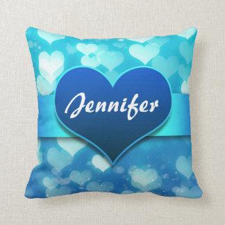 blue hearts name throw cushions