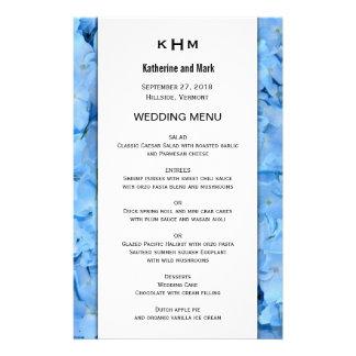 Blue Heaven Hydrangea Wedding Menu Template 14 Cm X 21.5 Cm Flyer