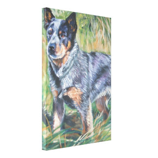 Blue Heeler Fine Art Painting on Wrapped Canvas Canvas Print