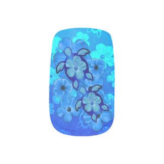 Blue Hibiscus And Honu Turtles Minx Nail Art