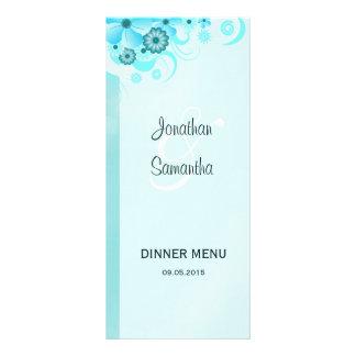 Blue Hibiscus Floral Wedding Dinner Menu Cards Rack Card Design