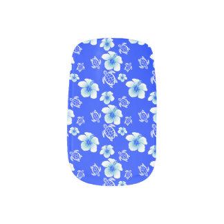 Blue Hibiscus Honu Hawaiian Pattern Minx Nail Art