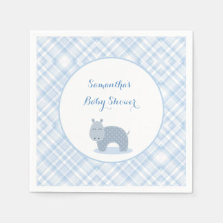 Blue Hippo, Plaid, Baby Shower Disposable Napkin