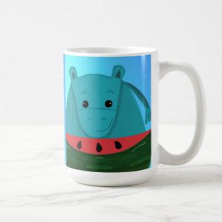 Blue Hippo with Watermelon Slice Coffee Mug