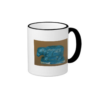 Blue hippopotamus with black decoration ringer mug
