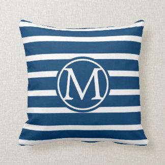 Blue Horizontal Striped Monogram Throw Pillow