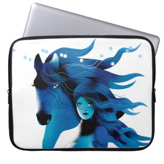 Blue Horse and a Girl Laptop Sleeve
