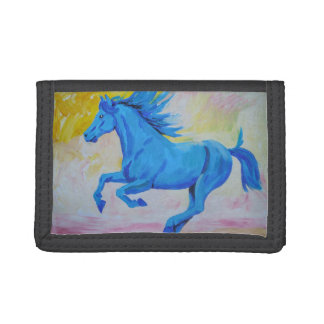 Blue Horse Trifold Wallet