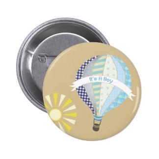 Blue Hot Air Balloon Baby Shower Button