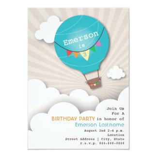 Blue Hot Air Balloon & Clouds Kids' Birthday 13 Cm X 18 Cm Invitation Card