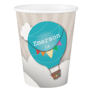 Blue Hot Air Balloon Kids Birthday Party Cups