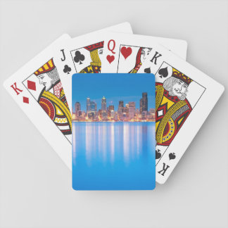 Blue hour view of downtown Seattle Playing Cards